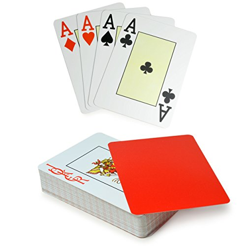 Profi Poker-Karten 54 Karten für Black Jack, Karten aus robustem Plastik - Marke Ganzoo (Rot)