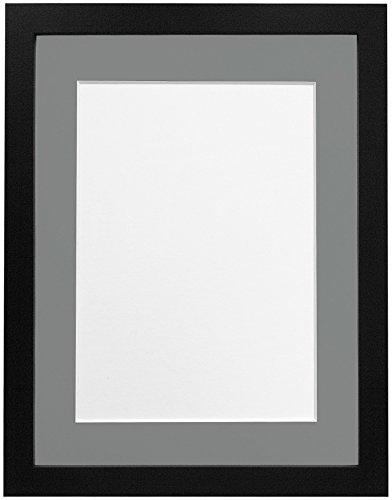 Frames By Post H7-Bilderrahmen mit weißem Passepartout, Breite 25 mm, weiß, holz, Schwarz , 14 x 11 Inch Image Size A4 (Schwarz 11x14 Bilderrahmen)