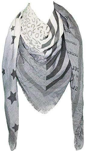 Mevina XXL Damen Halstuch Stern Leo Streifen Schrift groß quadratisch Schal Baumwolle Karo Muster Oversized Anthrazit T2345