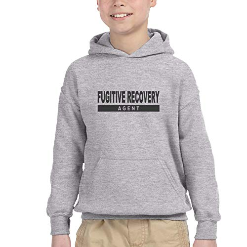 Youth Children's Pocket Hooded Sweatshirt Fugitive Recovery Agent 3 New Classic Minimalist Style Gray 3T - Agent Hooded Sweatshirt