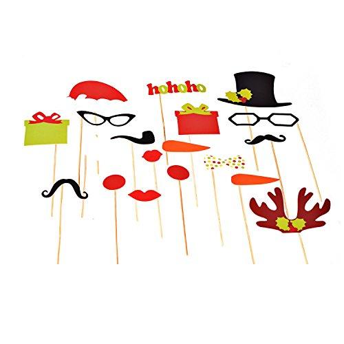 Ultra 17 Stöcke Stück Weihnachten Photobooth Fotoautomat glänzende Party Requisiten Kartensatz einschließlich Santa Hut Zylinder Rentier Ohren Brille präsentiert und (Für Santa Verkauf Hüte)