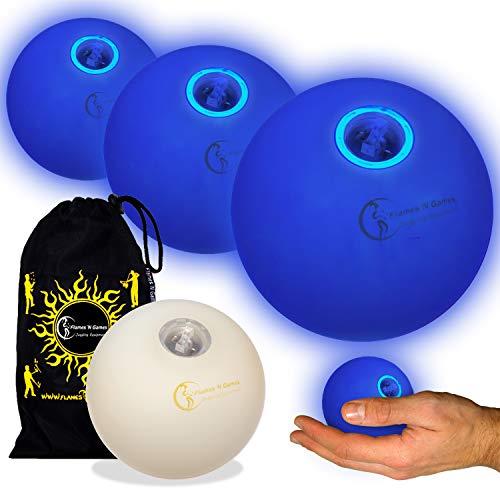 3X LED-Licht bis Kugeln Jonglierbälle 3er Set - Profi LED bälle+ Reisetasche! Blau (Bis Jonglierbälle Licht)