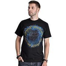 Camiseta de El Señor de los Anillos El Anillo del Poder gran impresión delantera del anillo de algodón color negro - L