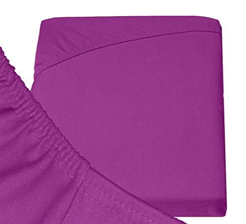 Double Jersey - Spannbettlaken 100% Baumwolle Jersey-Stretch bettlaken, Ultra Weich und Bügelfrei mit bis zu 30cm Stehghöhe, 160x200x30 Prune - 6
