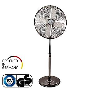 Ventilator Leise | Standventilator CoolBreeze 4000 | 40 cm Durchmesser, 50 Watt | Stand Fan Windmaschine Metall Chrom | für Bett, Schlafzimmer, Büro, Wohnung, Balkon, Terrasse | von SUNTEC