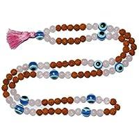 Mogul Interior Buddhist Prayer Beads Rudraksha Rose Quartz Mala Japamala Tassel Necklace