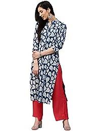 93c55607f9 Jaipur Kurti Women Indigo Fusion of Prints Straight Fit Shirt Style 46