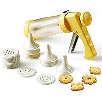 keepingcoox Cookie Press Set de pistola de glaseado, presión de la mano, 6con boquillas para decoración y glaseado, 16flores patrones Juego de sellos para galletas (, valor para dinero