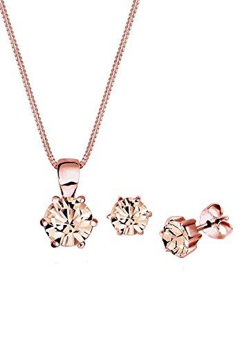 Elli Damen Schmuck Schmuckset Halskette + Ohrringe Basic Klassisch Silber 925 Rosé Vergoldet Swarovski® Kristalle Rosa Länge 45 cm