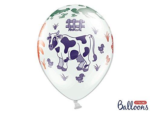(LoBeSo® Luftballon weiß mit Kuh Hahn Pferd Schwein - Motiv Bauernhof Farm Bauernhoftiere mit verschiedenen Farben 10 Stück 30cm Heliumgeeignet Ballon Dekoration Geburtstag Party Tier Tierluftballon Tiermotive Tiere Tiereluftballon)