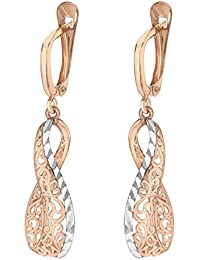 Carissima Gold Women's 9 ct Rose Gold Filigree Open Drop Earrings