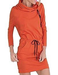 NPRADLA - Vestido - Casual - Liso - Manga Larga - para Mujer