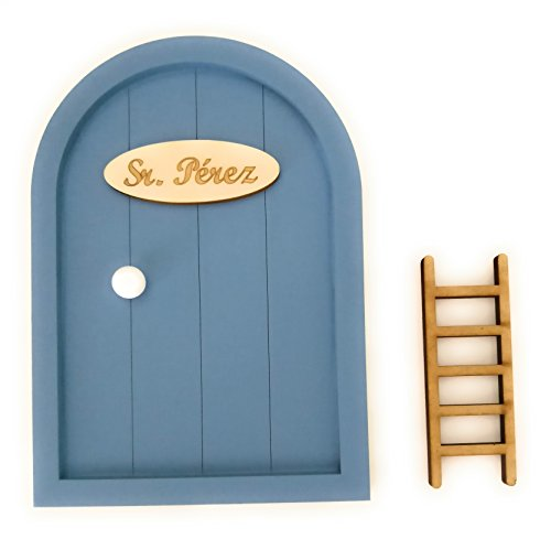 Puerta Ratoncito Pérez de madera varios colores + Escalera + Felpudo + Ratoncito de madera / Decoraciones de pared con adhesivo (Azul grisaceo)