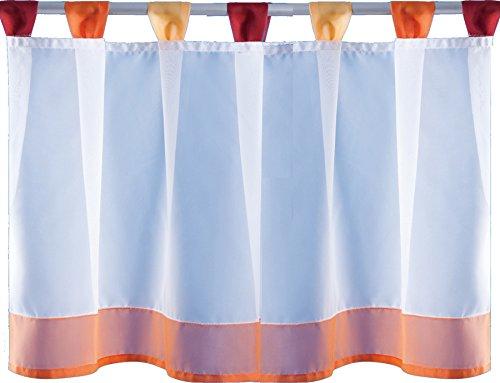Bistrogardine Sky Line mit Schlaufen- Farbe wählbar - ca. 150 x 45 cm - Orange 50