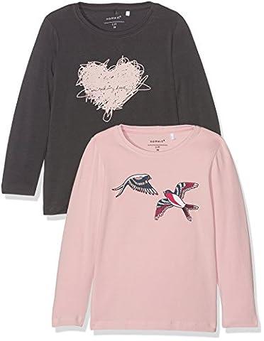NAME IT Nitvix 2p Ls Top Box F Mz G, T-Shirt à Manches Longues Bébé Fille, Multicolore (Asphalt), 104 (lot de 2)