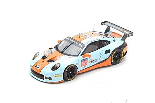 SPARK-Porsche-911RSR lmgte Am-Le Mans 2017Coche de ferrocarril de Collection, 18s334, Azul/Naranja/Negro