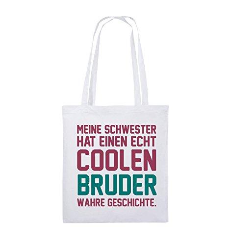 Comedy Bags - Meine Schwester hat einen echt coolen Bruder wahre Geschichte. - Jutebeutel - lange Henkel - 38x42cm - Farbe: Schwarz / Weiss-Neongrün Weiss / Fuchsia-Türkis
