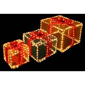 Set Of Three 3D Light Up Christmas Gift Boxes
