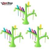 DeoDap's Fancy Bird Fork | Fancy Fork |Tree Shape Holder Rack | Cutlery Set | Fork Set For Kids | Fork Set With Stand | Forks Set | Fork Stand | Fork Stand | Fork For Babies | (Pack Of 3)