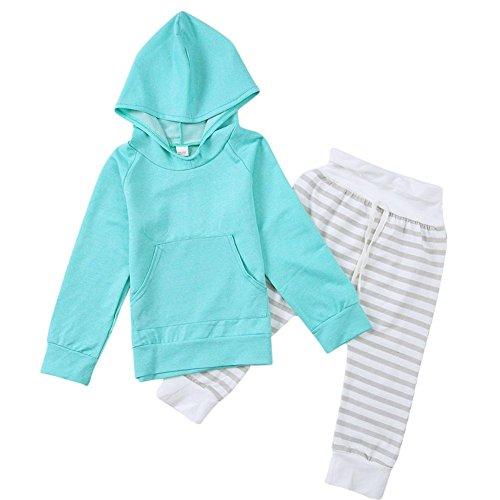 2pcs/Set Newborn Baby Green Pocket Long Sleeve Hoodie + Stripe Pants(6-12M)