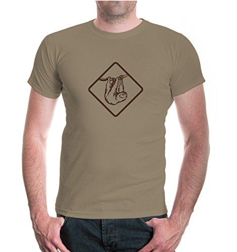 buXsbaum® Herren Unisex Kurzarm T-Shirt bedruckt Faultier | Faulpelz Ameisenbär Südamerika | XL khaki-brown Beige