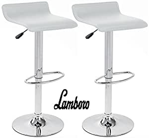 BARGAINS-GALORE® 2 X WHITE BREAKFAST BAR STOOL FAUX LEATHER BARSTOOL KITCHEN STOOLS CHROME CHAIR