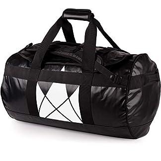 The-Friendly-Swede-Reisetasche-Duffle-Bag-Duffel-Bag-Rucksack-30L60L90L-Sporttasche-Travel-Bag-Rucksackfunktion-SANDHAMN-Schwarz-Kronenprint-60L