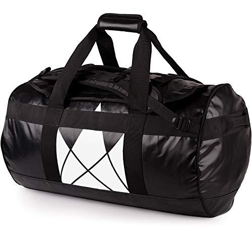 The Friendly Swede Reisetasche Duffle Bag - Duffel Bag Rucksack 30L/60L/90L - Sporttasche Travel Bag - Rucksackfunktion - SANDHAMN (Schwarz, Kronenprint 60L)