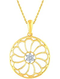 Silvernshine Diamond Accent Open Flower Circle Pendant Necklace 14k Yellow Gold Fn 925 Silver