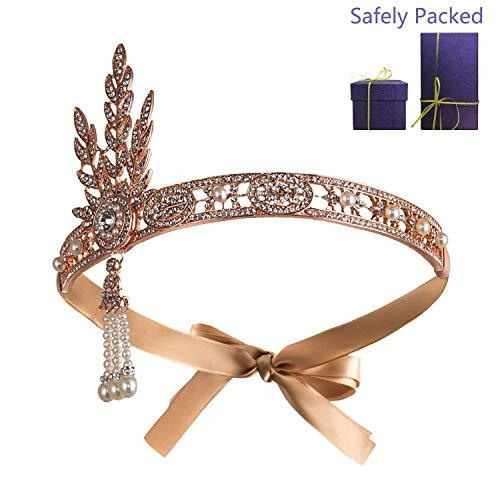 Metme Gatsby Accessoires, Damen 1920s Stirnband Pfau 20er Jahre Stil Flapper Haarband Inspiriert von Great Gatsby Damen Kostüm Accessoires Rose Gold