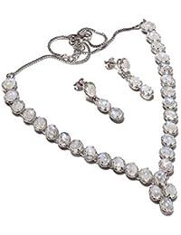 neerupam Collection chapado Superbe blanco arc-lune diamante piedra mirada plata rhodié y collar conjunto pendiente de ley para las mujeres