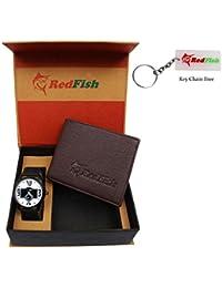 RedFish Stylist Wrist Men Watch And Brown Wallet Combo - (RDF-1005-EW)