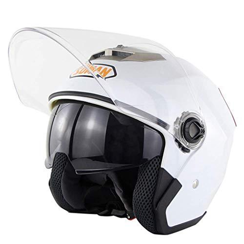 Unisex Half Harley Bike Helmets Casco Moto Outdoor Aperto Faccia Moto Caps,White,M