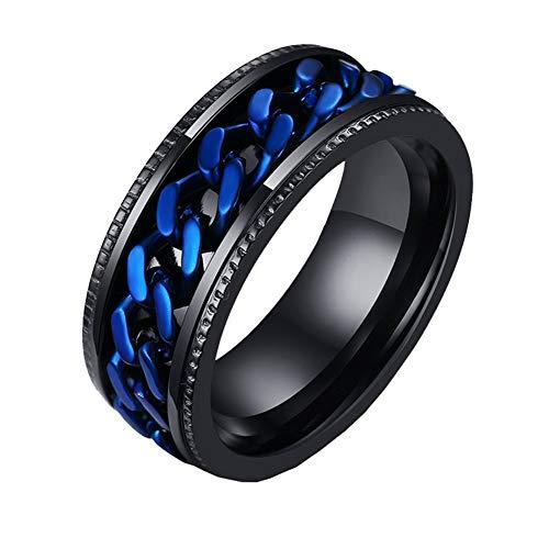 PAURO Herren Edelstahl Europa und Amerika Blaue Kette Drehbare Schwarz Ring Größe 54 (17.2)