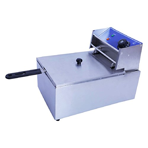 OnlineWorld Commercial Professional Stainless Steel Single Electric Fryer (Single) with Capacity of 6 L