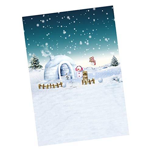 FLAMEER Miniatur Fotografie Szenen Schneemann Foto Hintergrund Kulisse Für Puppenstube Weihnachten Dekoration - 30x60 cm