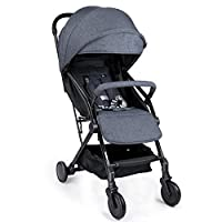 Meinkind Stroller Pushchair Lightweight, Compact Travel Buggy Baby, One Hand Foldable Easy Transport and Storage, Suitable from Birth to 22KG, Grey