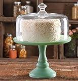 Pioneer Woman Pedestal Cake Plate & Glass Lid Jadeite Color 10 Inch by The Pioneer Woman