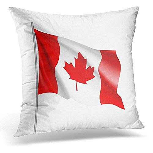 Egoa Dekokissenbezug Accuracy Red Canadian Waving Flag von Kanada Nordamerika Land am Fahnenmast Weiß Big Accurate Dekorative Kissenbezug Home Decor Square 45X45cm Kissenbezug -