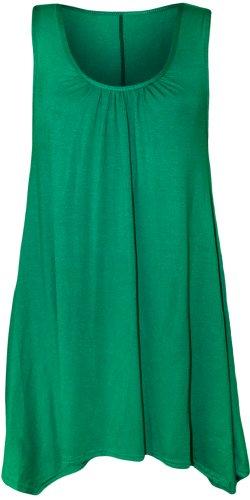 WearAll - Damen Übergröße Hanky Hem Ärmellos Lang Vest Top - 13 Farben - Größe 44-50 Jade