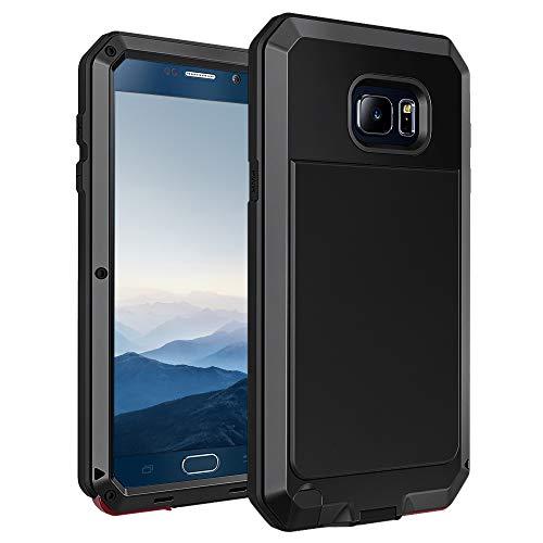Seacosmo Galaxy Note 5 Hülle, Aluminium Doppelte Schutz Stoßfest Ganzkörper Schutzhülle mit eingebauter Displayschutz für Samsung Galaxy Note 5, Schwarz