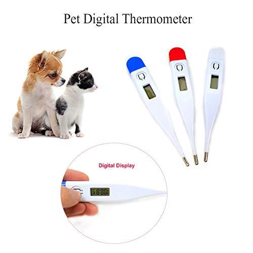 OKDEALS Digitales elektronisches leicht ablesbares Thermometer, wasserfest und quecksilberfrei, für Fieberthermometer für Haustiere, geeignet für Hunde