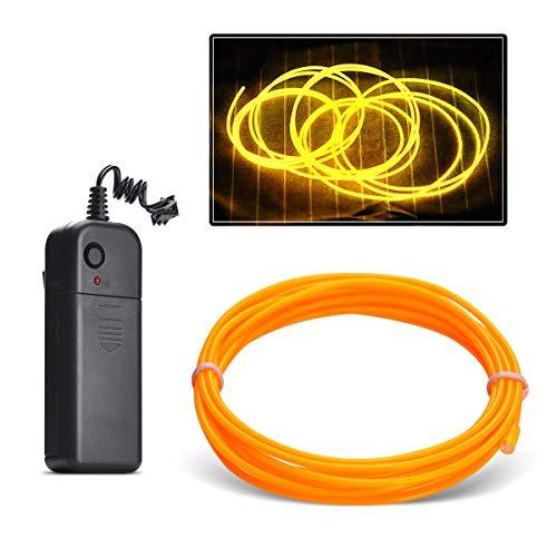 Aogbithy Flexibel Wasserdicht EL Wire EL Kabel Neon Beleuchtung leuchtschnur mit 3 Modis für Partybeleuchtung,Weihnachtsfeiern und Halloween Kostüm Rave Dekoration (Gelb, 3M) (Home Hilfe Halloween Kostüme)