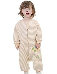 Happy Cherry 2 en 1 Pyjama Grenouillères Combinaison Enfant Bébé Fille Garçon - Sac de Couchage Rayure en Coton Gigoteuse à Manches Longues pour Printemps Automne Hiver - 2-5ans - 2 Couleur