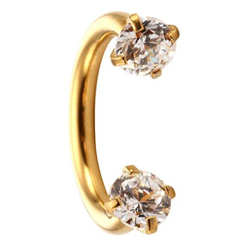 JOVIVI Schmuck, Klar Zirkonia Chirurgenstahl Nasen Lippe Ohr Helix Stecker 16G Cartilage Hoop Ring Piercingschmuck (Gold-8mm) - Gold-nase Ohrstecker Ringe