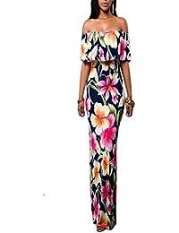 Femmes Mode Sexy Col Volant robe taille haute moulante imprimée Robe Bohème