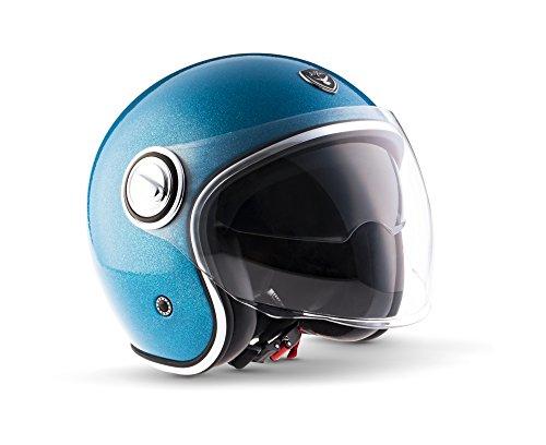 "Soxon · SP-888 Pro ""Flakes Blue"" (Blau) · Jet-Helm · Roller Scooter-Helm Mofa Motorrad-Helm Chopper Retro · ECE certified · Separate Visors · Multi-Visor™ Ready · S (55-56cm)"