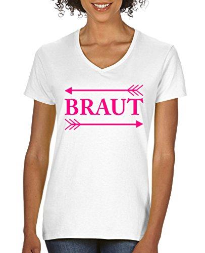 Comedy Shirts - Braut Pfeile - Damen V-Neck T-Shirt - Weiss/Pink Gr. S - Pfeil-v-neck T-shirt