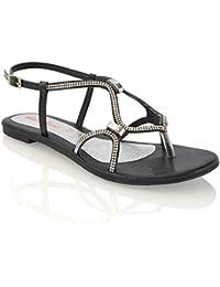 Juleya Hausschuhe Damen Zehentrenner Flip Flop Schuhe, Sommer Flach Strasssteine Pantoffeln Schwarz 43