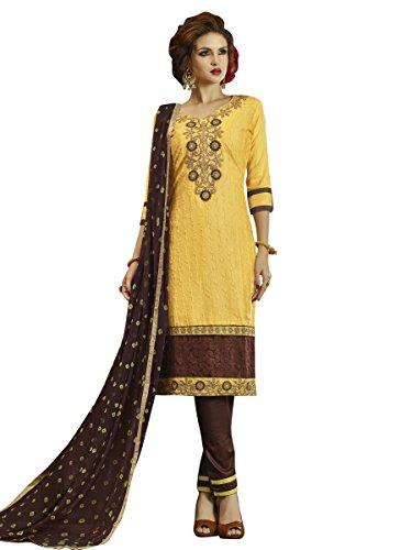 Indisch Salwar Kameez Frau Nicht abgesteppt kleid partywear Nicht Gewunden Nur Material Mirchi Fashion (Chiffon Kameez Gelb)